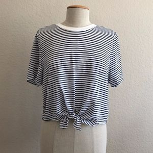 Topshop Blue and White Striped Tee